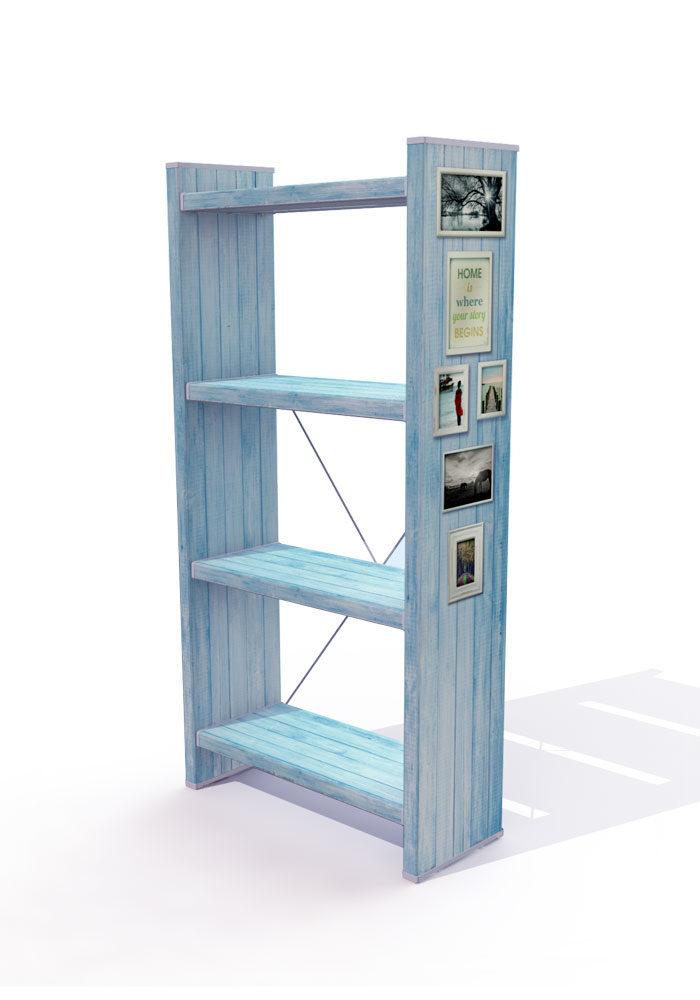כוננית ספרים מעוצבת עץ תכלת